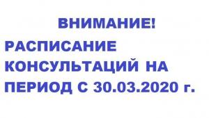 Расписание консультаций с 30 марта 2020 г.