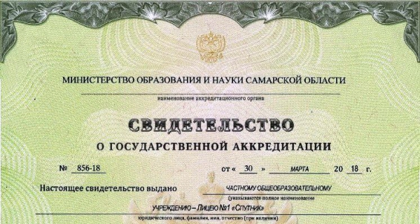 """Лицей №1 """"Спутник"""" получил свидетельство о государственной аккредитации"""